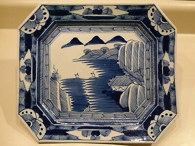 18th c Antique Chinese Export Blue & White Porcelain Platter/Tray 13 1/2x 11 3/4