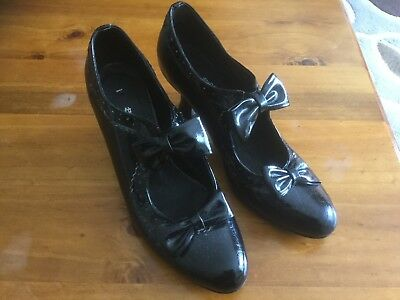 Ladies Shoes I LOVE BILLY 'lasalle' Black With Bows, Size 37(6)