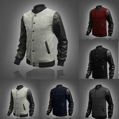 Men's Fashion Slim Fit Stand Collar Coat Tops Baseball Zip Casual Jacket Outwear