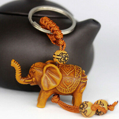 Lucky Thailand Elephant Wooden Carving Pendant keychain Key Chain Ring Bag Gift