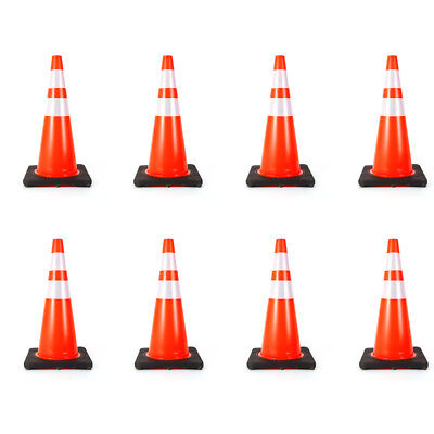 8x Traffic Cone 28 inch 3M Reflective Collar Road Safety Parking Cones USA STOCK