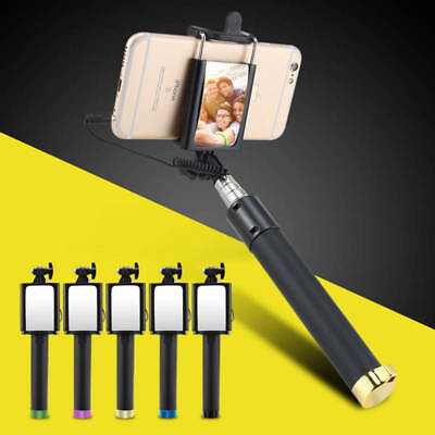 Wired Selfie Stick With Mirror Mini Monopod Extendable For iPhone Samsung AU