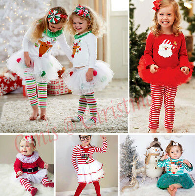 UK Toddler Kids Baby Girl Christmas Party Tulle Tutu Dress Outfits Set Clothes