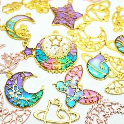 10Pcs Butterfly Star Moon Frame Pendant Open Bezel Setting UV Resin Jewelry DIY