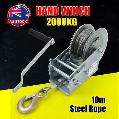 2000KG 10M Hand Winch 2-Speed Synthetic Strap Manual Car Boat Trailer 4WD O