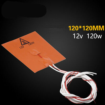 120w 12v 120*120mm Silicone Heated Bed Heating Pad Mat f/ 3D Printer Heating Mat