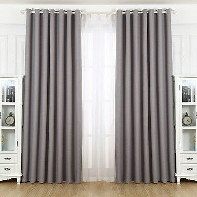 Newly Shading Curtain Pure Color Hotel Ventilate Drape Window Grommet Panel 1PC