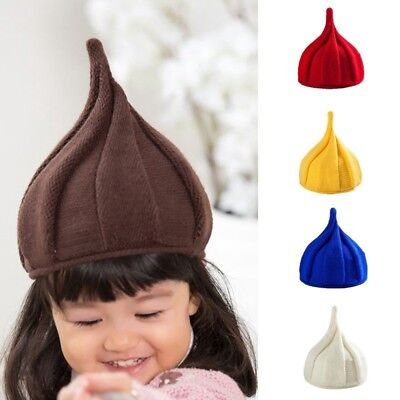 Fashion Kids Hat Soft Boys Girls Knitted Beanie Pure Color Warm Cap Pointed Hat