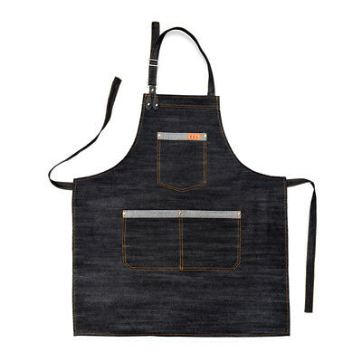 Denim Bib Apron Barista Work Shop Clothes Barber Pocket Workwear Chef Uniform