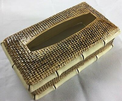 "Vintage Ceramic Luxury Tissue Box Cover Rattan Bamboo 11"" Large EUC"