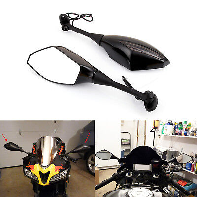b5c70b66942ce CARBON MOTORCYCLE LED Turn Signals Rearview Mirrors For Suzuki GSXR ...