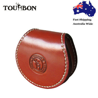 Tourbon Coins Purse Round Change Holder Case Pocket Wallet Genuine Leather in AU