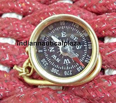 LOT OF 10 Pcs MARITIME NAUTICAL VINTAGE ANTIQUE POCKET COMPASS KEY CHAIN KEYRING