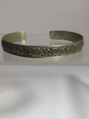 Antique Chinese Export Gilt Sterling Silver? Fine Filigree Cuff Bracelet