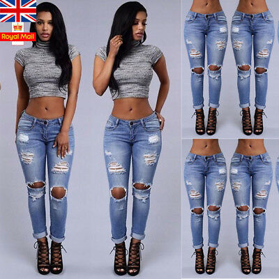 UK Womens Ripped Denim Pencil Pants High Waist Skinny Ladies Jeans Trousers