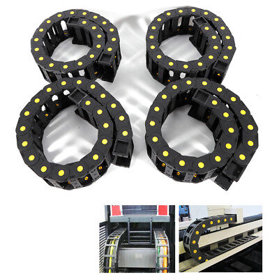 4Pc cable wire carrier drag chain towline Nylon PA66 1000mm Can open cover BLACK