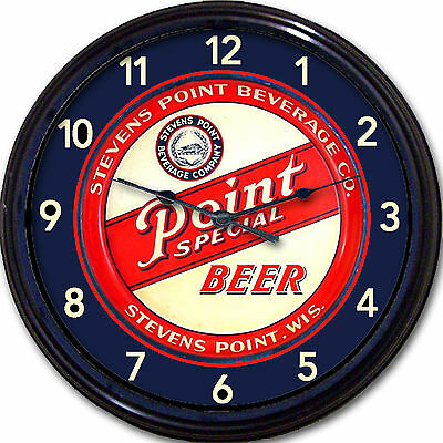 """Stevens Point Brewery Co Beer Tray Wall Clock Stevens Point WI Ale Man Cave 10"""""""
