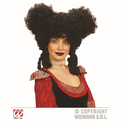 Black Baroque Wig Christmas Vampire Pantomime Ugly Sisters Dame Tudor Queen