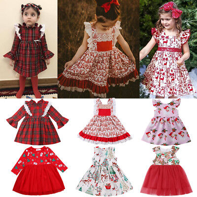 UK Toddler Infant Kid Baby Girl Christmas Lace Deer Princess Party Dress Clothes