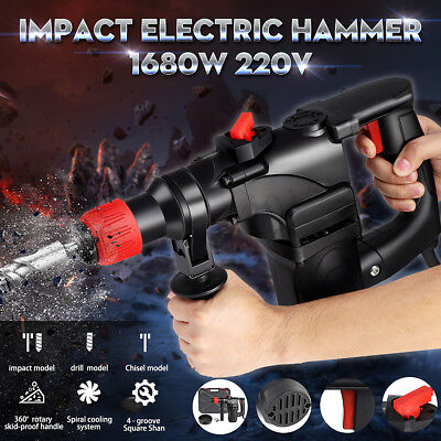 1680W 220V Electric Demolition Hammer Impact Drill Breaker Chisels 360º 750rmp