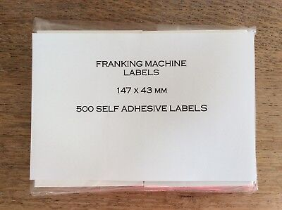 Packet of 500 Self-Adhesive Franking Machine Double Mailing Labels 147mm X 43mm