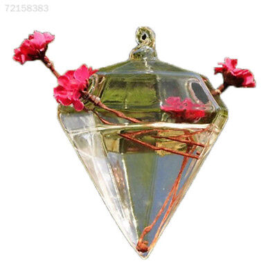 FC31 Cute Clear Glass Diamond Flower Plant Stand Hanging Vase Office Wedding Dec