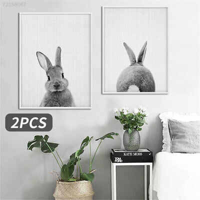 B090 2pcs Canvas Painting Oil Painting Rabbit Pattern Home Decor Wall Art