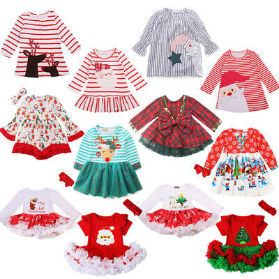 AU Christmas Newborn Toddler Baby Girls Party Striped Dress Outfits Clothes Lot