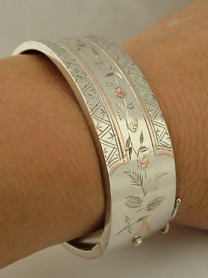 Antique Victorian Solid Sterling Silver Yellow And Rose Gold Bangle Bracelet