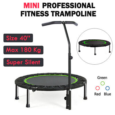 "40"" Mini Fitness Trampoline Gym Rebounder Jogger Home Cardio Exercise Handrail"