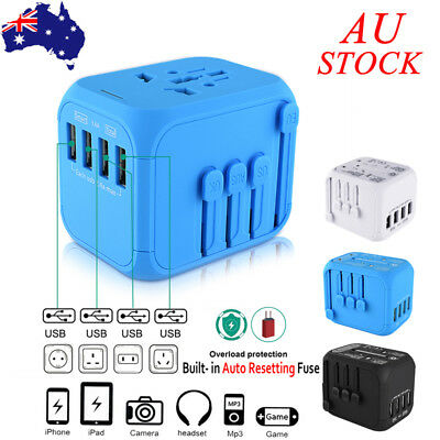 4 Port Universal USB Auto Resetting Travel Adapter Converter Charger Plug AU EU
