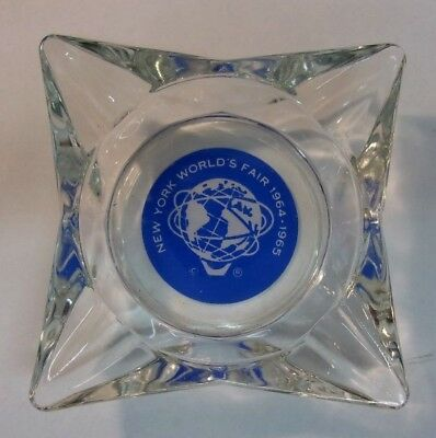 "Vintage 1964-1965 New York World's Fair Glass Ashtray 5"" square"