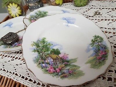 Vintage Royal Vale Deco 7382 Chocolate Box Scene Plates-Deal For Afternoon Teas