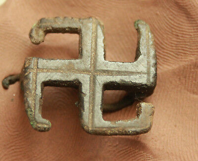 Ancient Roman Bronze  Fibula & Brooch swastika  L= 23x23x10mm  5gr