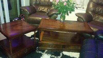 Pair Regency Style Reproduction Mahogany Extendable Side Tables