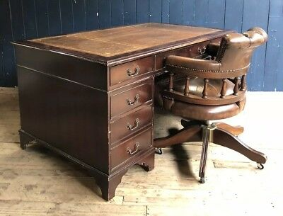 Large Brown Leather Top Twin Pedestal Writing Desk Antique Style DELIVERY*