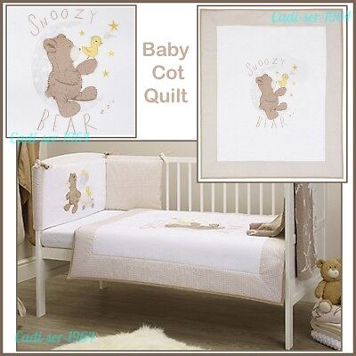 NEW Jack the Bear Cot Bed Quilt Boy / Girl Baby Bedding 100% Cotton Snoozy Bear