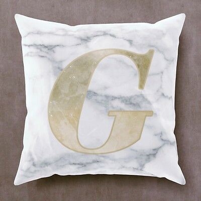 Personalised Cushion Gold Name Initial Marble Birthday Christmas Gift Girl