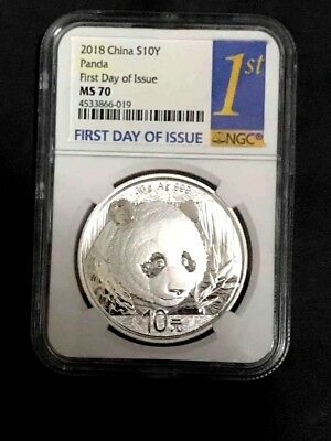2018 Silver Panda Coin 30 gram First Day Issue NGC MS70