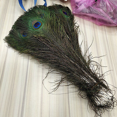 Hot Selling 1-10 yards Pretty Natural Peacock Feather Ribbon 12-15cm Decoration