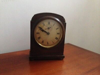 Vintage HAC dome topped mantel clock in wooden case - for spares or restoration.