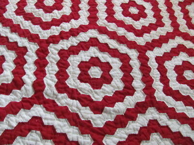 Unconventional red white flower garden quilt hand quilted striking four borders
