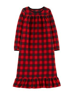 New Carter's Ruffle Buffalo Plaid Nightgown 4/5 6/7 12/14