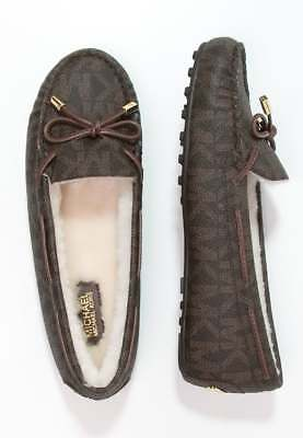 c0544fb7ba6e NEW MICHAEL KORS SZ 10 DAISY SHEARLING LINED BROWN leather MOCCASIN LOAFER  FLATS