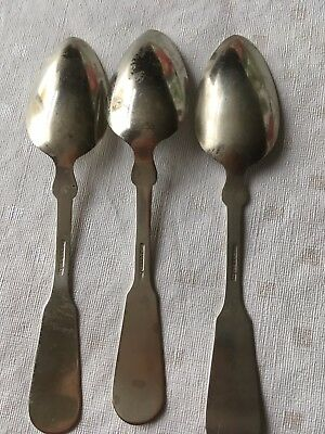 Antique Mid 19th Century Silver Or Pewter Spoons Cp parker A1