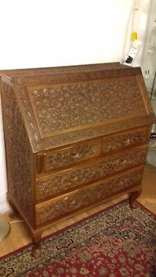 Carved Writing Bureau with intricate carving in excellent condition