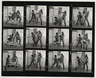 3 Fetish Girls & A Prison Cell / Complete Series 6/8  (Vintage Contact Sheet B/W