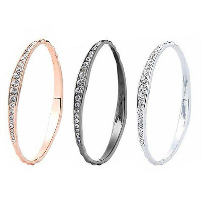 Sparkling Diamante Hammered Bangle - Choice of Silver, Rose Gold or Gunmetal