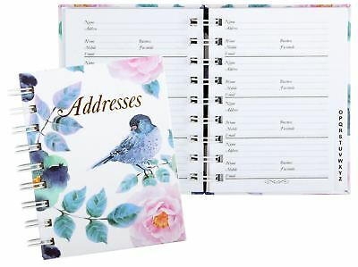 FLORAL BIRD Address Book A-Z Spiral 130 x 100mm 72Leaf Cumberland 767003*