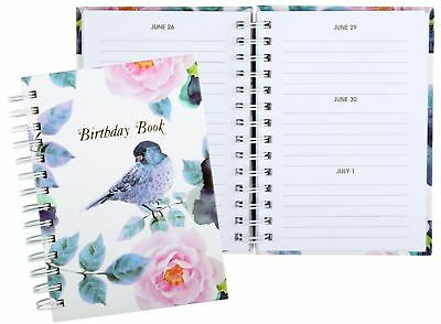 FLORAL BIRD  Birthday Book Spiral 130 x 190mm Cumberland 767014*